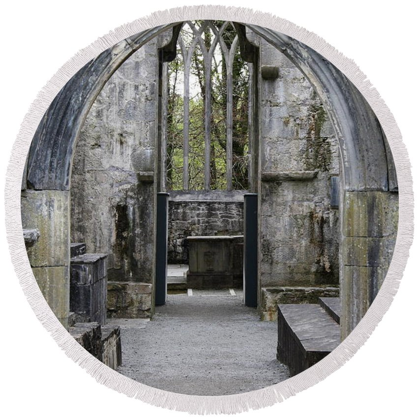 Archway Round Beach Towel featuring the photograph Archway Muckross Abbey by Christiane Schulze Art And Photography