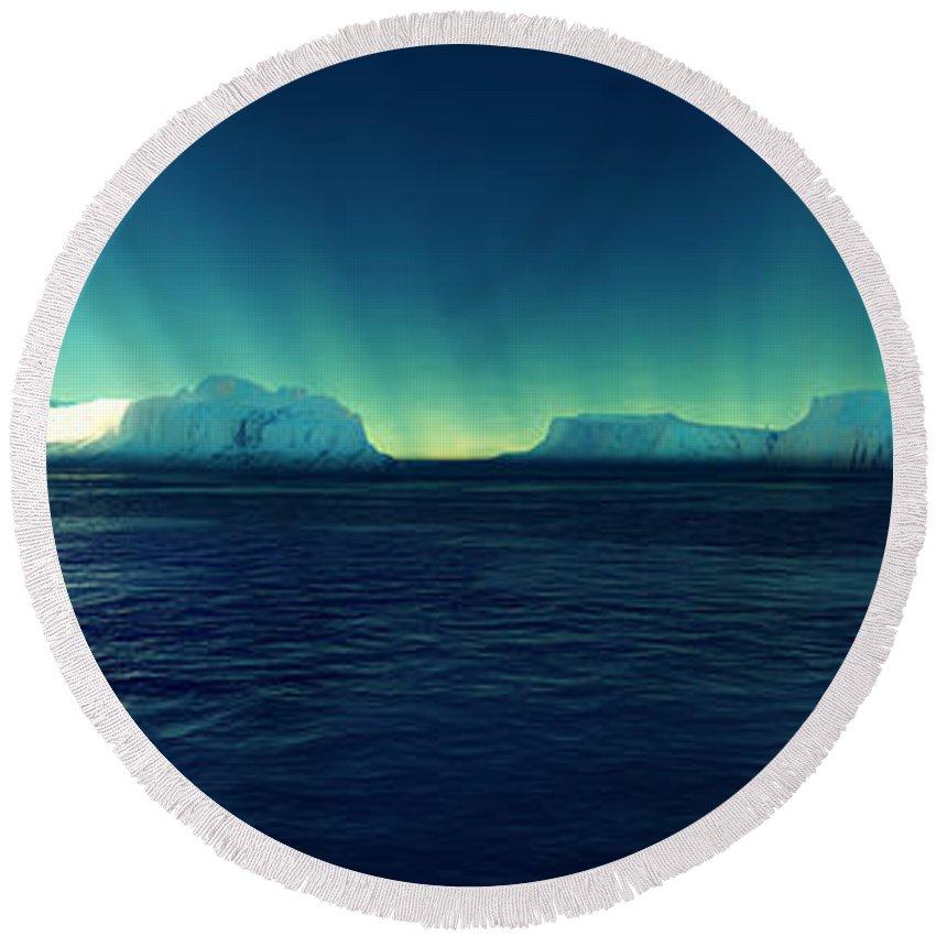 Eis Round Beach Towel featuring the digital art Arctic Lights by Steffen Gierok