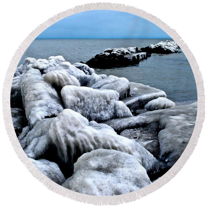 Freezing Round Beach Towel featuring the photograph Arctic Waters by Frozen in Time Fine Art Photography