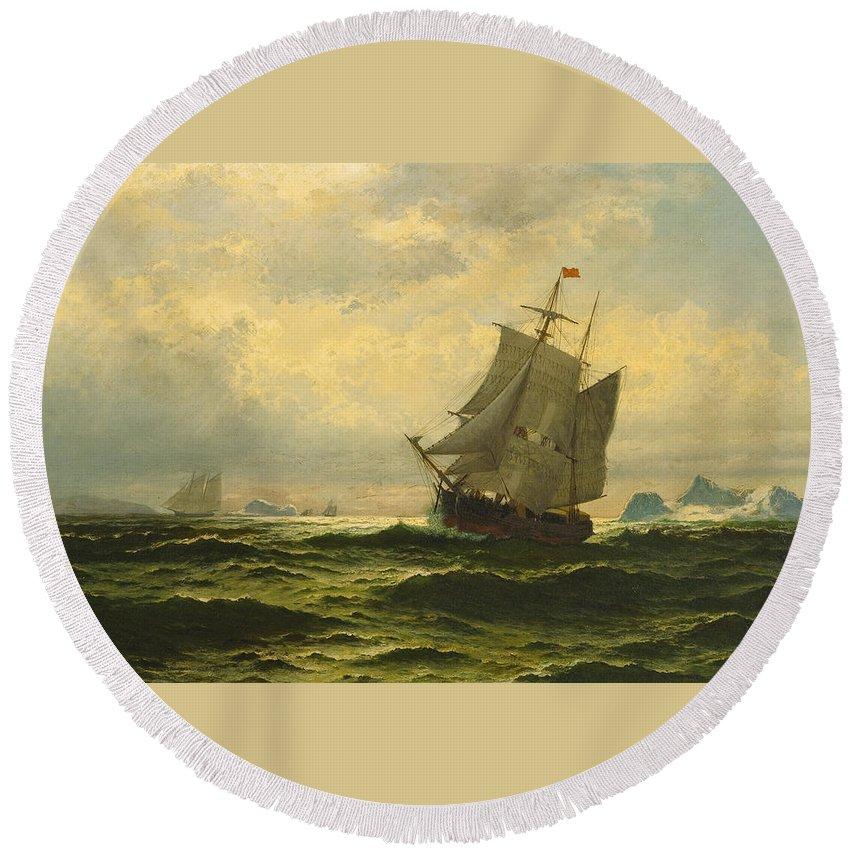 William Bradford Round Beach Towel featuring the painting Arctic Whalers Homeward Bound by William Bradford