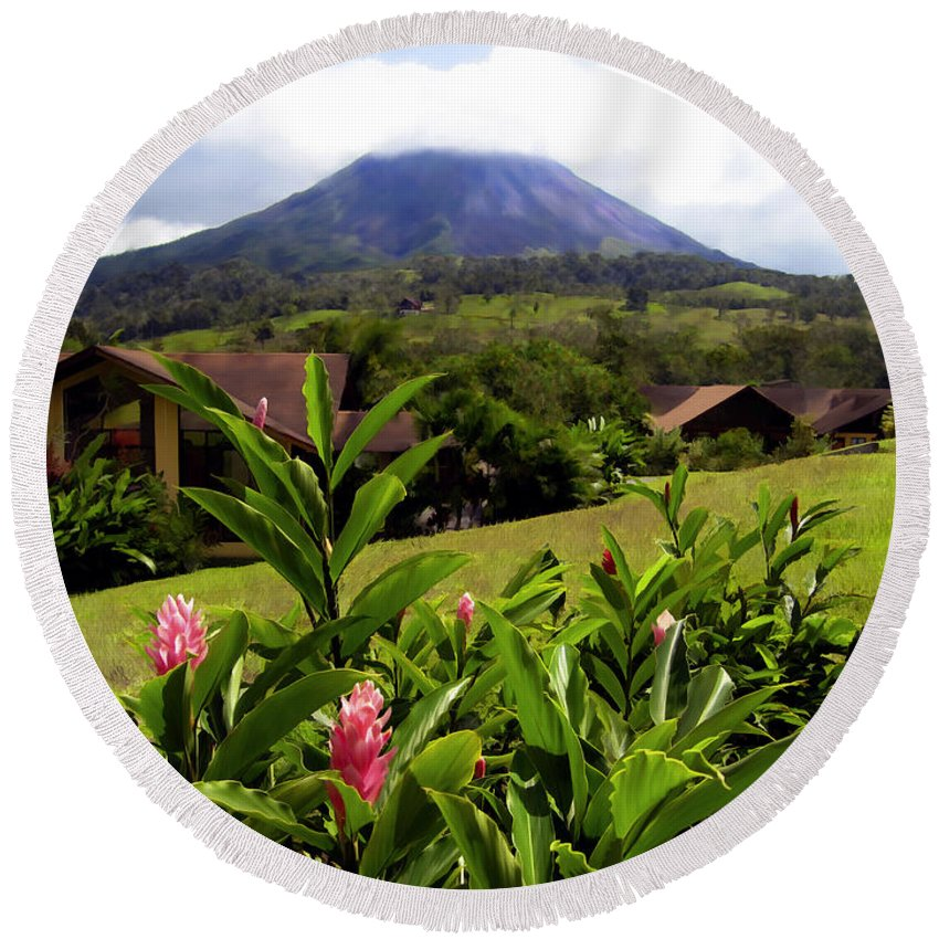 Tropical Round Beach Towel featuring the photograph Arenal Costa Rica by Kurt Van Wagner