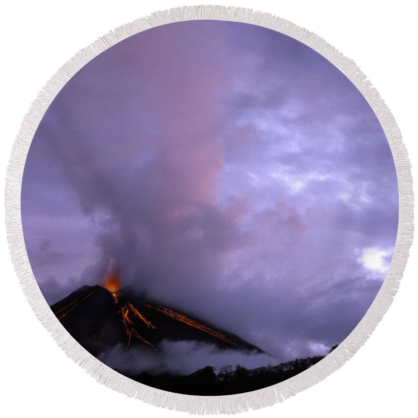 Arenal Volcano Round Beach Towel featuring the photograph Arenal Volcano by Ron Sanford