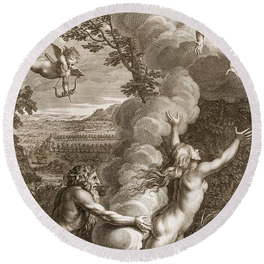 Arethusa Round Beach Towel featuring the drawing Arethusa Pursued By Alpheus And Turned by Bernard Picart