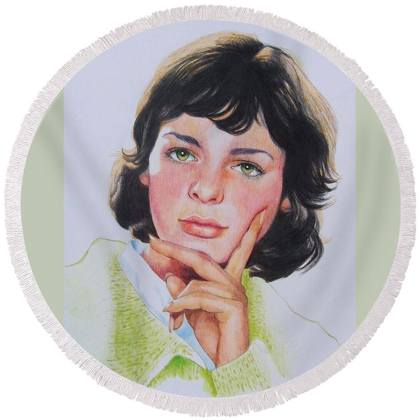 Portrait Round Beach Towel featuring the mixed media Ariane by Constance Drescher