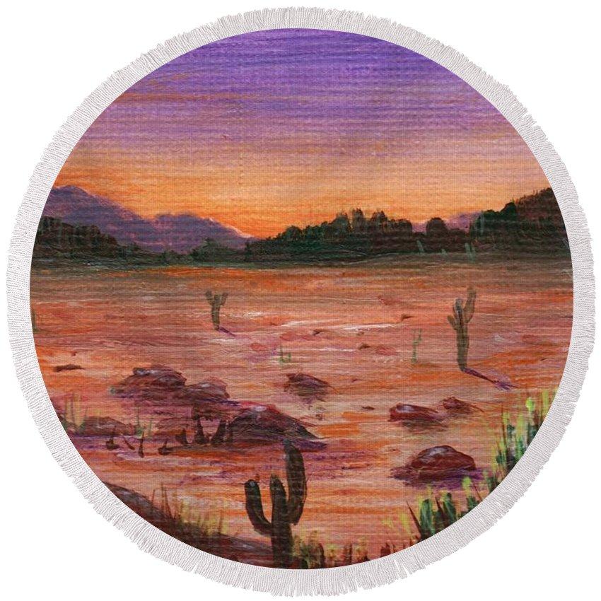 Calm Round Beach Towel featuring the painting Arizona Desert by Anastasiya Malakhova