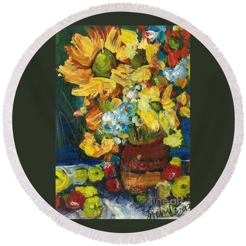 Owl Round Beach Towel featuring the painting Arizona Sunflowers by Sherry Harradence