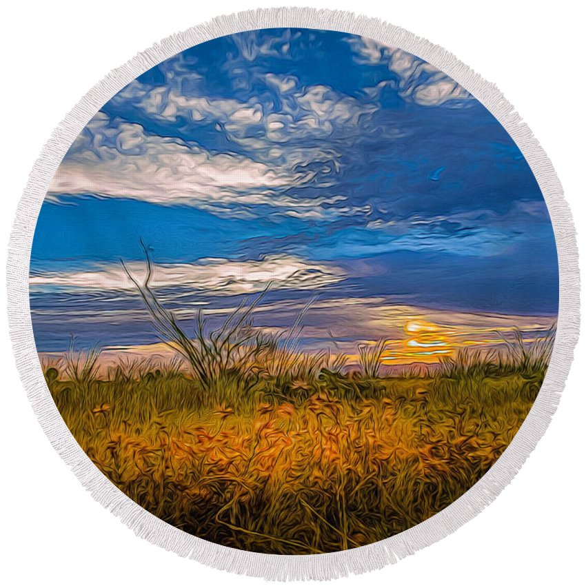 Sunset Round Beach Towel featuring the photograph Arizona Sunset 27 by Larry White
