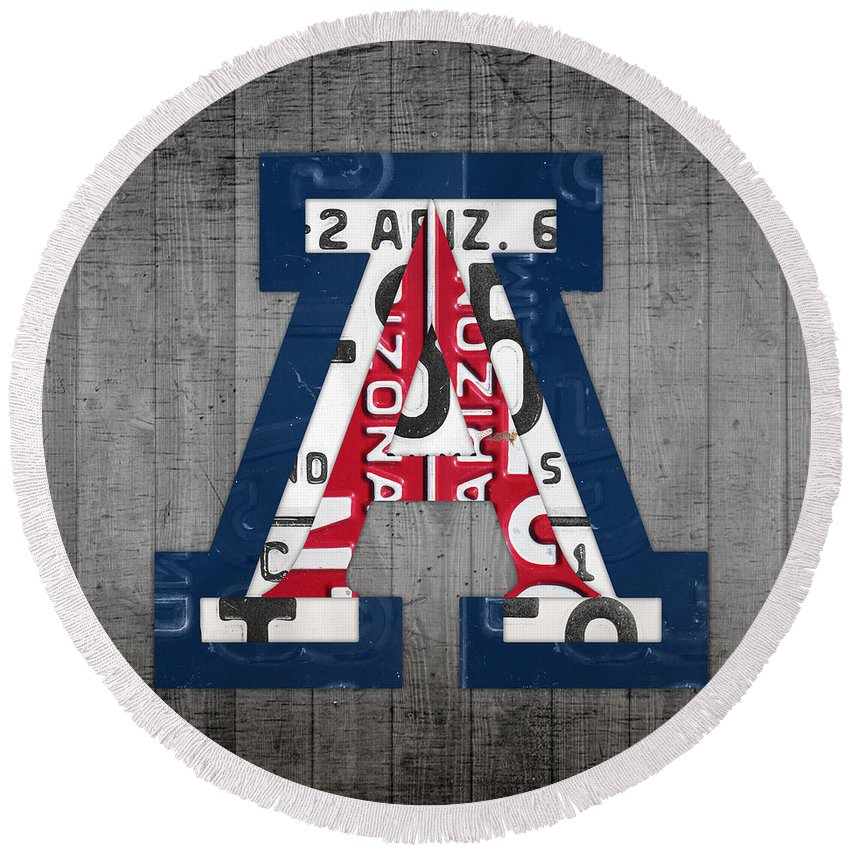 Arizona Round Beach Towel featuring the mixed media Arizona Wildcats College Sports Team Retro Vintage Recycled License Plate Art by Design Turnpike