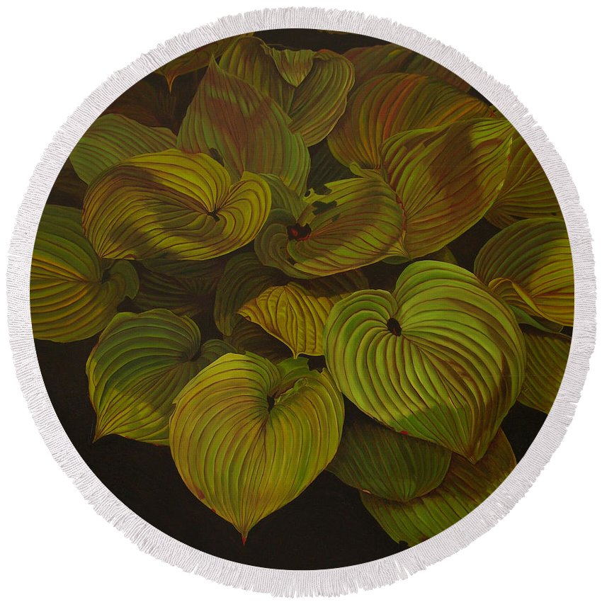 Plants Round Beach Towel featuring the painting Arkansas Green by Thu Nguyen