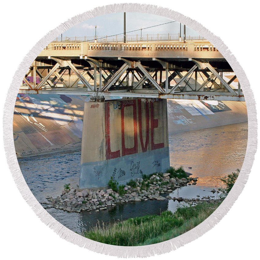 Bridge Round Beach Towel featuring the photograph Arkansas River Walk by Shirley Roberson