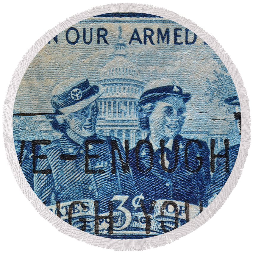Armed Services Round Beach Towel featuring the photograph Armed Services Women Stamp by Bill Owen