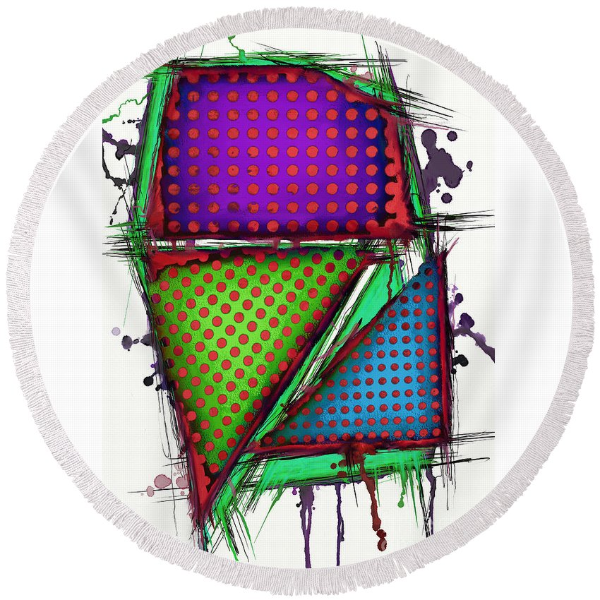 Armour Round Beach Towel featuring the digital art Armour 2 by Keith Mills