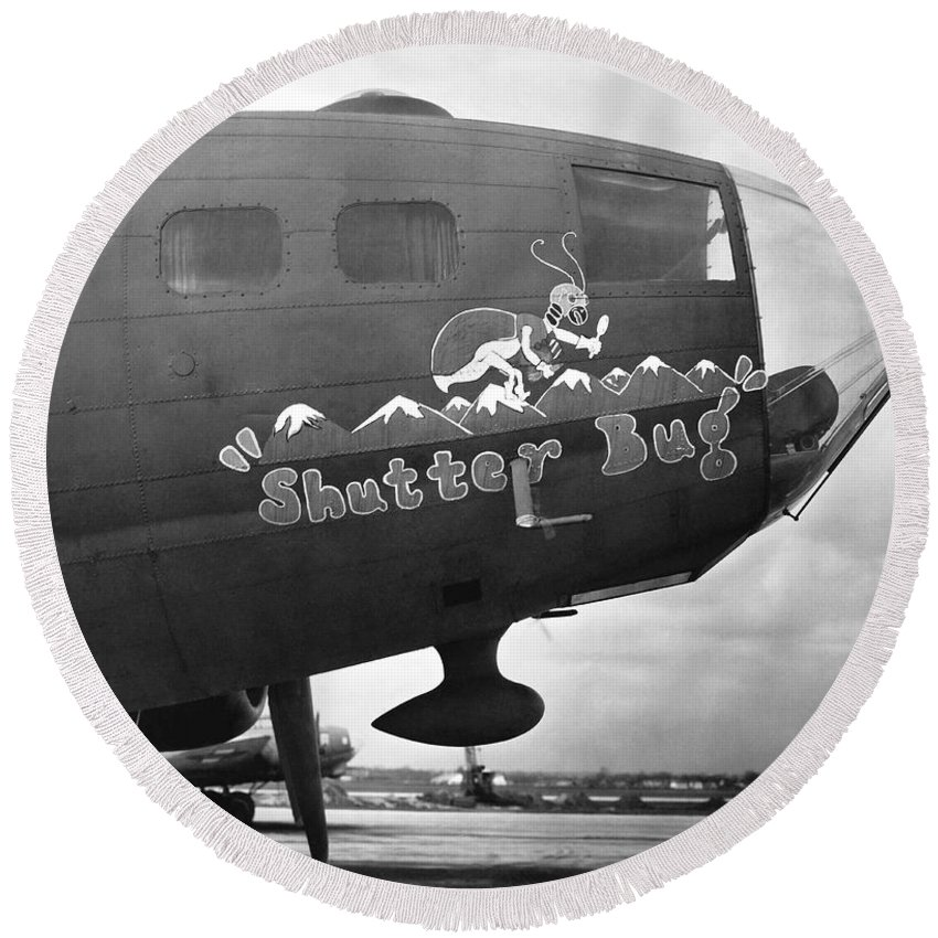 1942 Round Beach Towel featuring the photograph Army Air Force Photo Plane by Underwood Archives