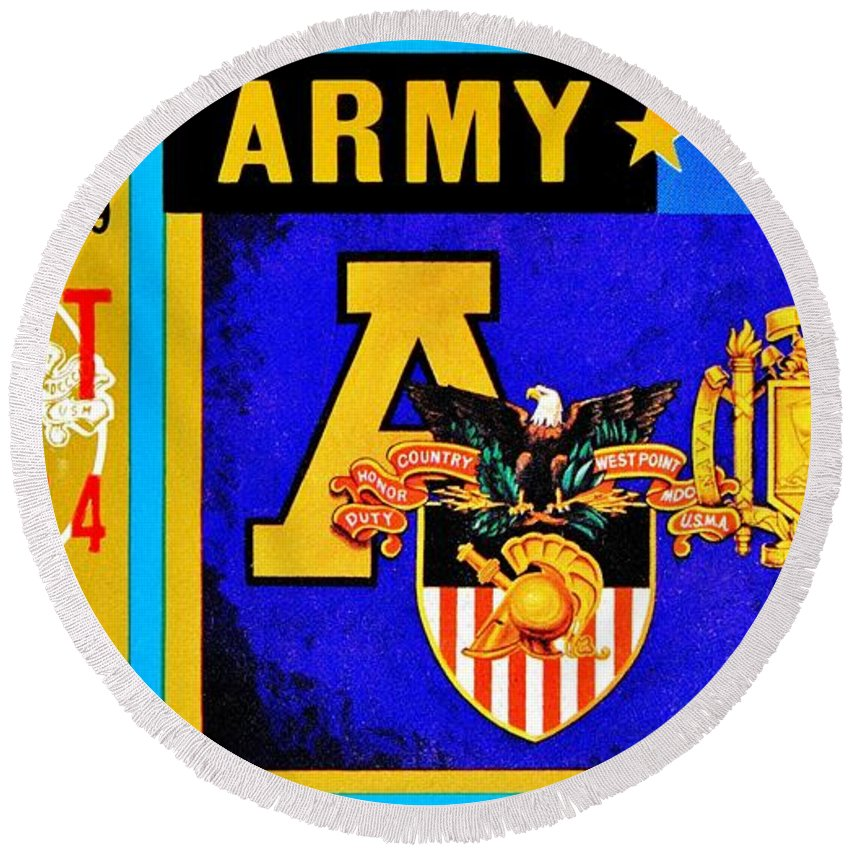 Army Round Beach Towel featuring the photograph Army Navy 1979 by Benjamin Yeager