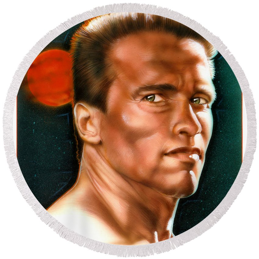 Arnold Round Beach Towel featuring the painting Arnold by Timothy Scoggins