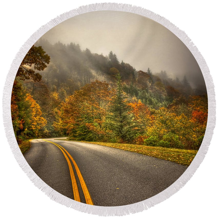 Reid Callaway Blue Ridge Parkway Round Beach Towel featuring the photograph Around The Bend Clouds Along The Blue Ridge Parkway by Reid Callaway