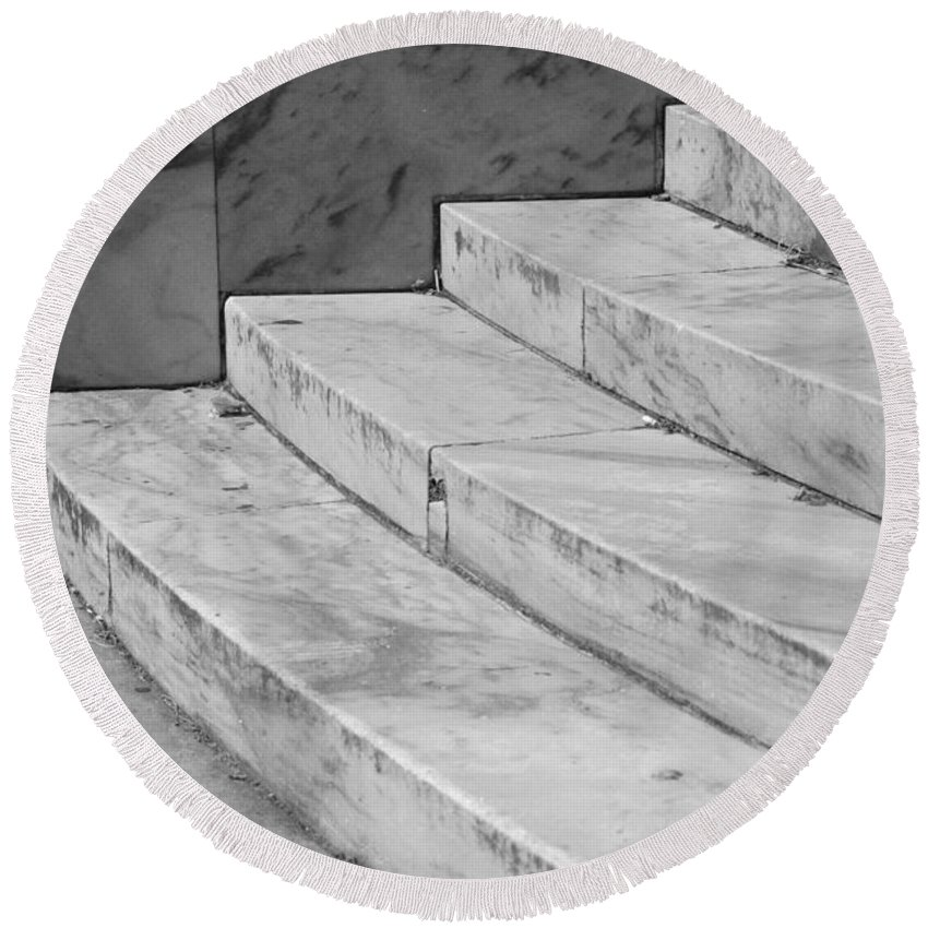 Architecture Round Beach Towel featuring the photograph Art Deco Steps In Black And White by Rob Hans