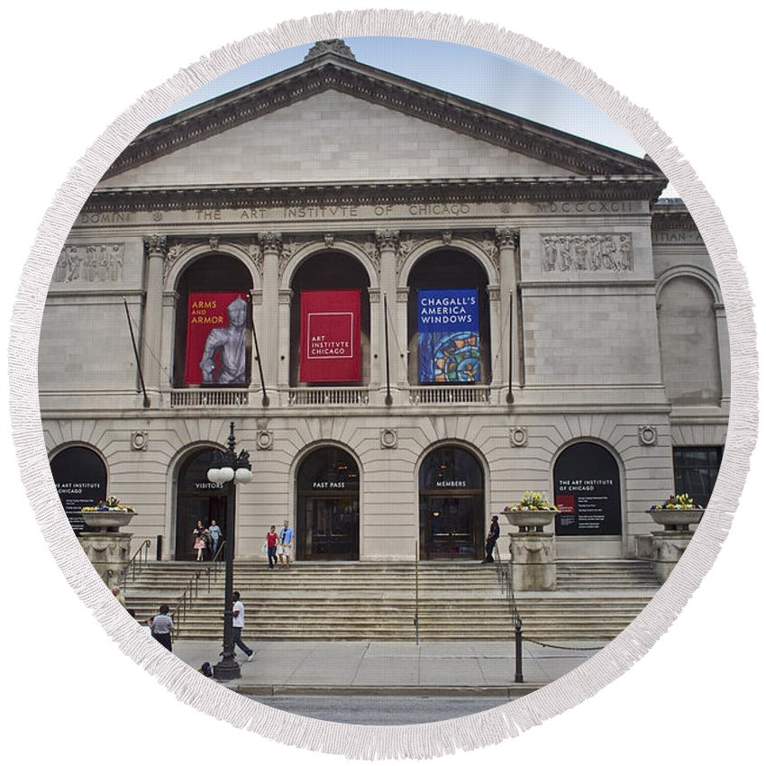Chicago Round Beach Towel featuring the photograph Art Institute West Facade by Thomas Woolworth