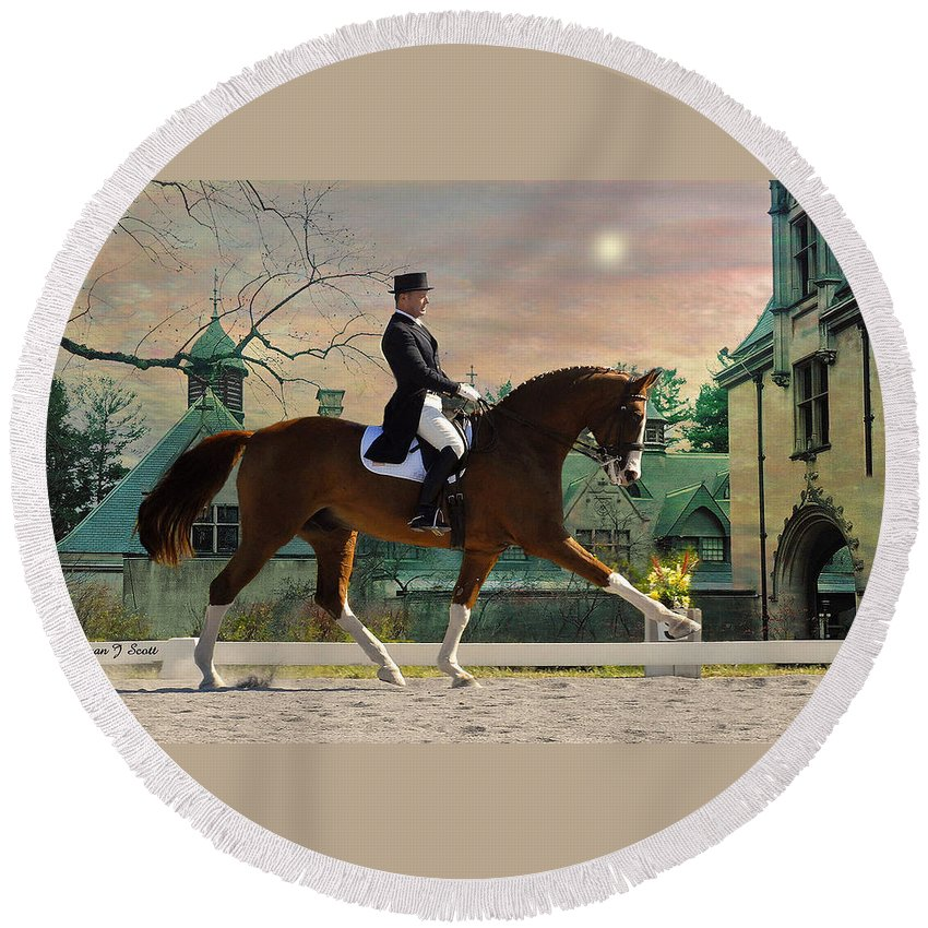 Horses Round Beach Towel featuring the photograph Art Of Dressage by Fran J Scott