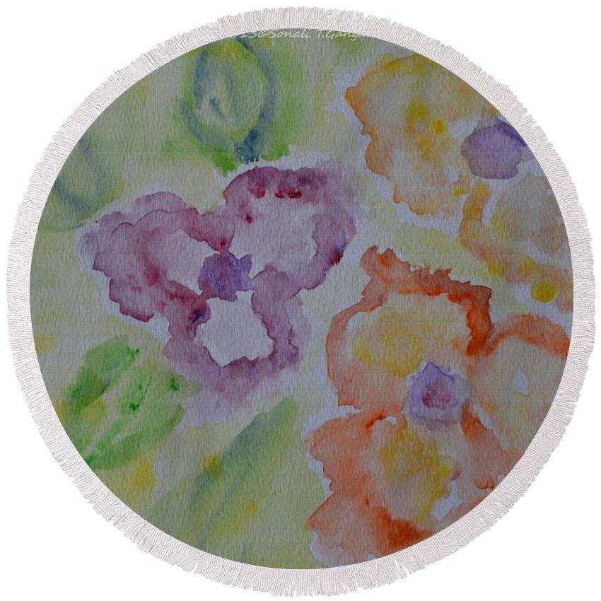 Posters Round Beach Towel featuring the painting Art Of Watercolor by Sonali Gangane