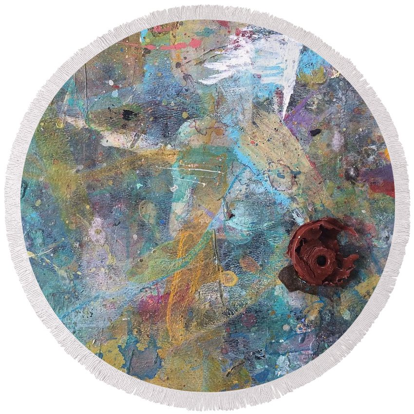 Art Table Round Beach Towel featuring the photograph Art Table With Dried Paint by Robin Maria Pedrero