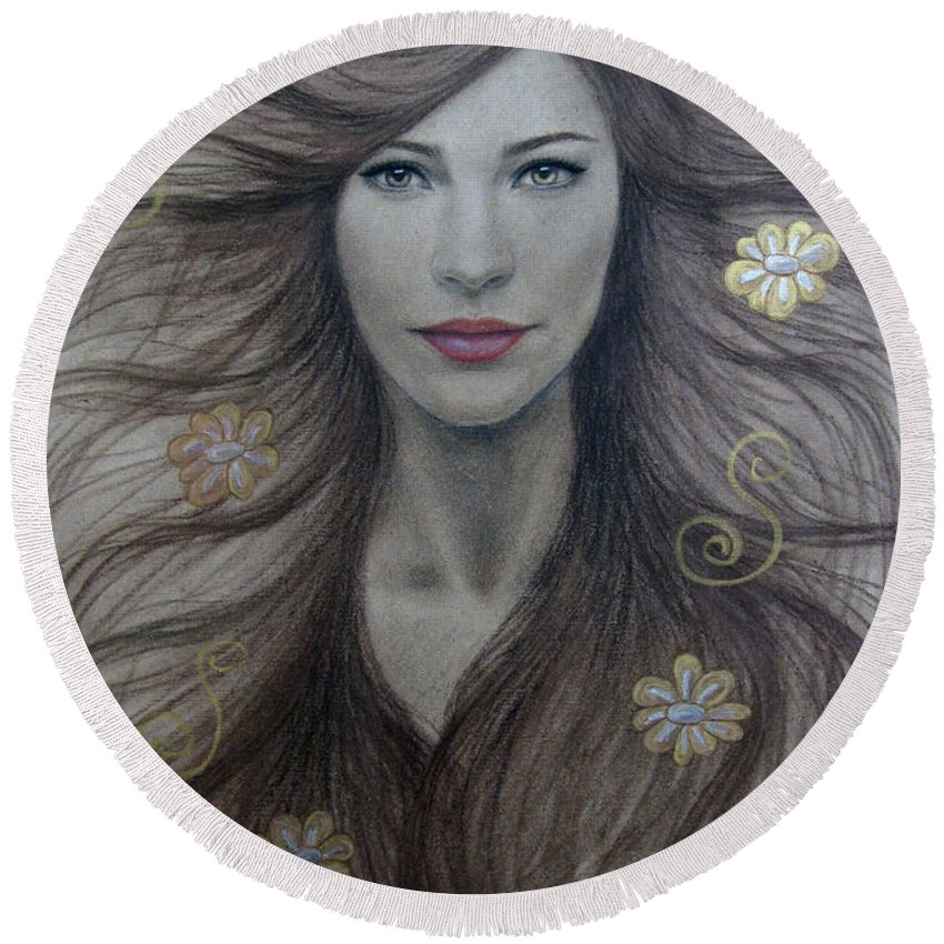 Artemis Round Beach Towel featuring the painting Artemis by Lynet McDonald