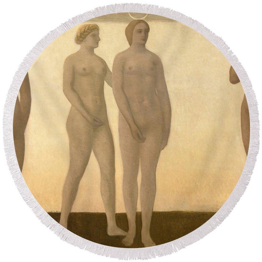 Vilhelm Hammershoi Round Beach Towel featuring the painting Artemis by Vilhelm Hammershoi