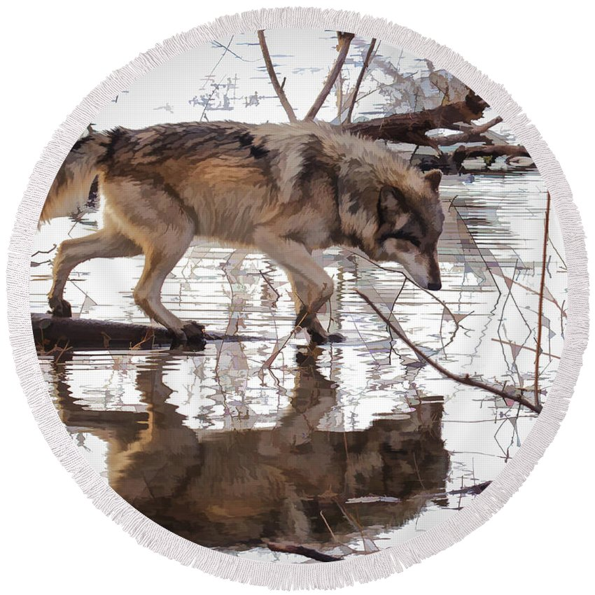 Animal Round Beach Towel featuring the photograph Artful Crossing by Jack R Perry