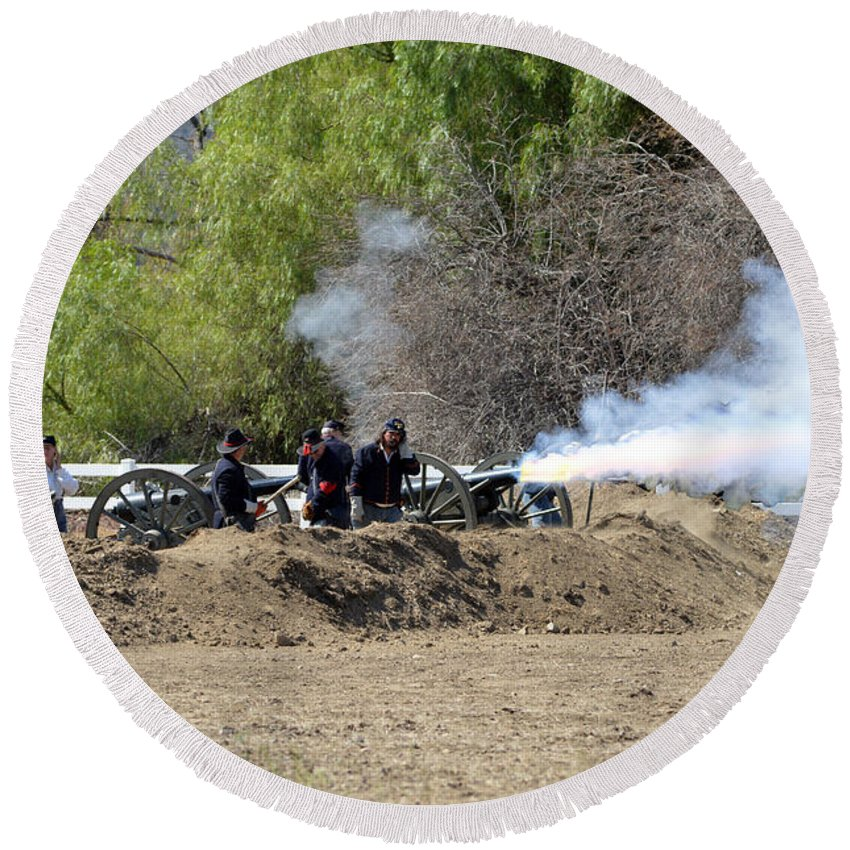 Union Round Beach Towel featuring the photograph Artillery Support by Tommy Anderson