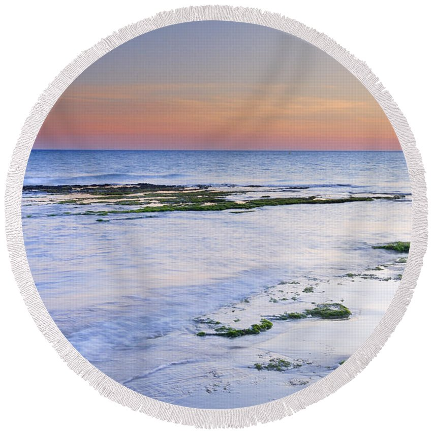 Water Round Beach Towel featuring the photograph Artola Beach by Guido Montanes Castillo