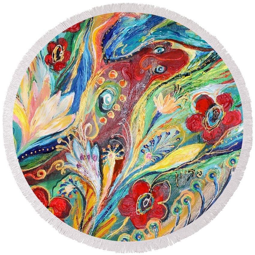 Jewish Art Prints Round Beach Towel featuring the painting Artwork Fragment 22 by Elena Kotliarker