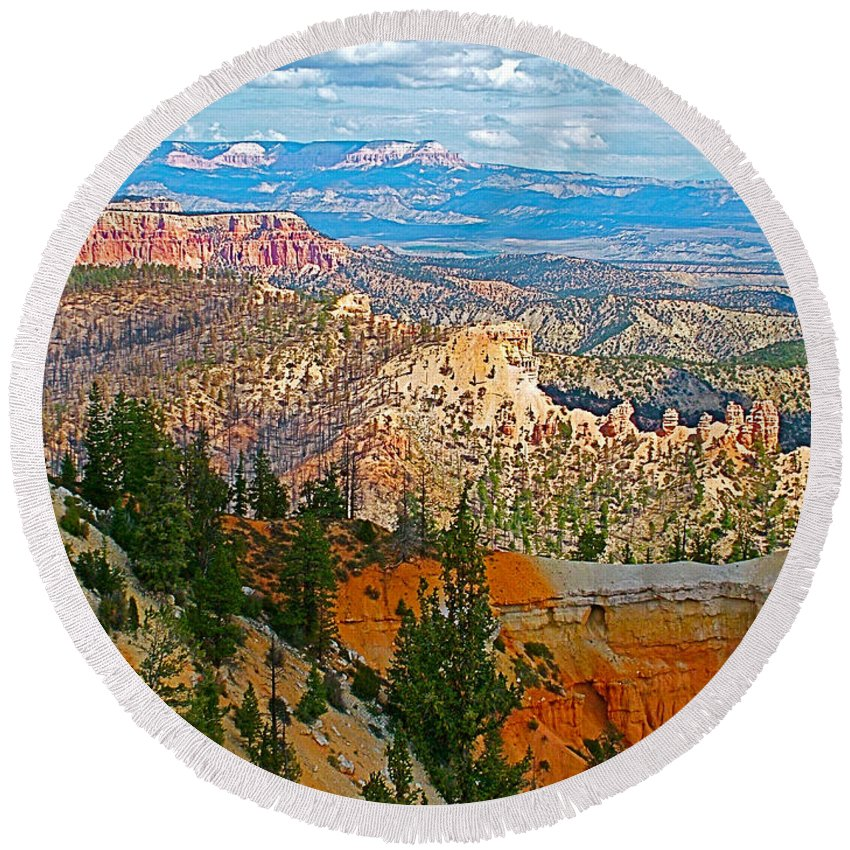 As Far As The Eye Can See From Farview Point In Bryce Canyon Round Beach Towel featuring the photograph As Far As The Eye Can See From Farview Point In Bryce Canyon-utah  by Ruth Hager