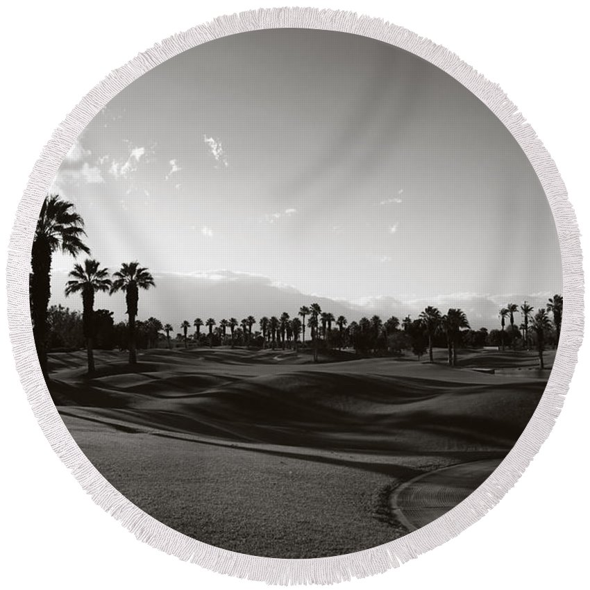 Palm Desert Round Beach Towel featuring the photograph As Shadows Spread Across The Land by Laurie Search