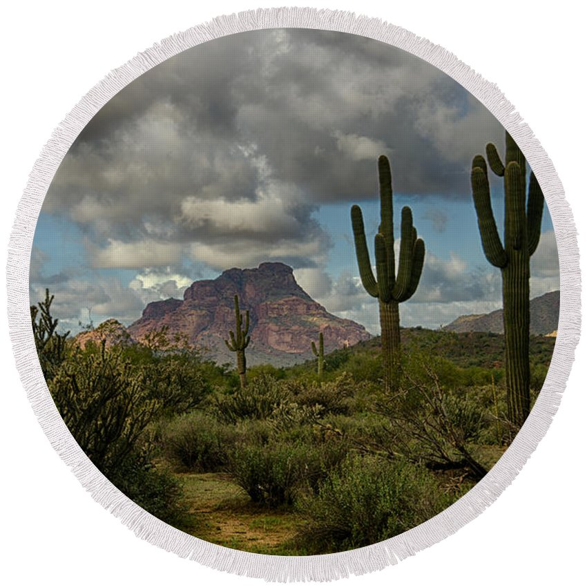 Arizona Round Beach Towel featuring the photograph As The Clouds Pass By by Saija Lehtonen