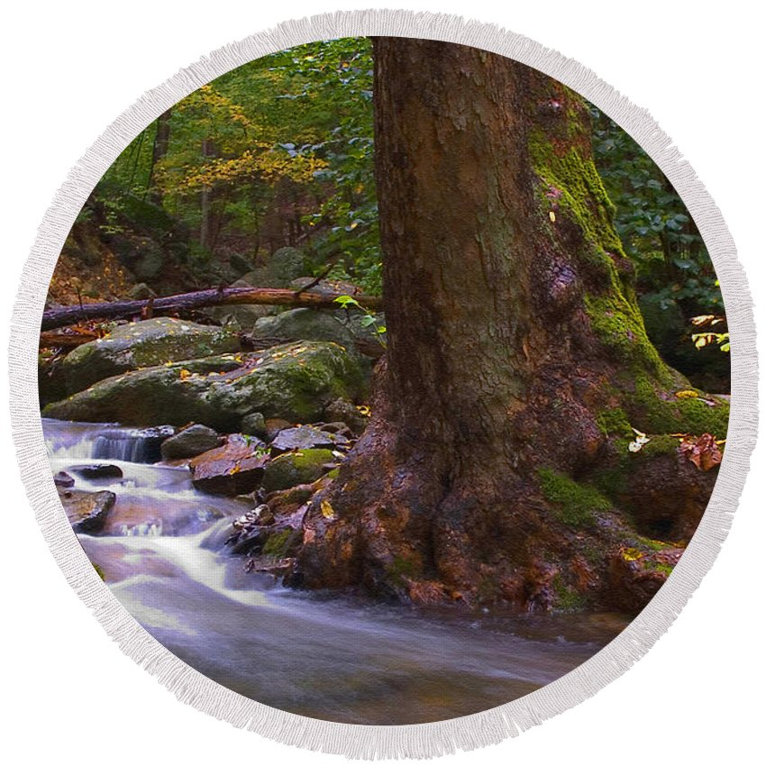River Round Beach Towel featuring the photograph As The River Runs by Karol Livote