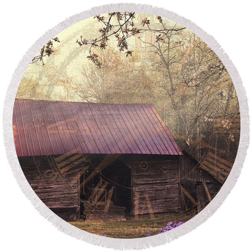 Appalachia Round Beach Towel featuring the photograph As Time Goes By by Debra and Dave Vanderlaan