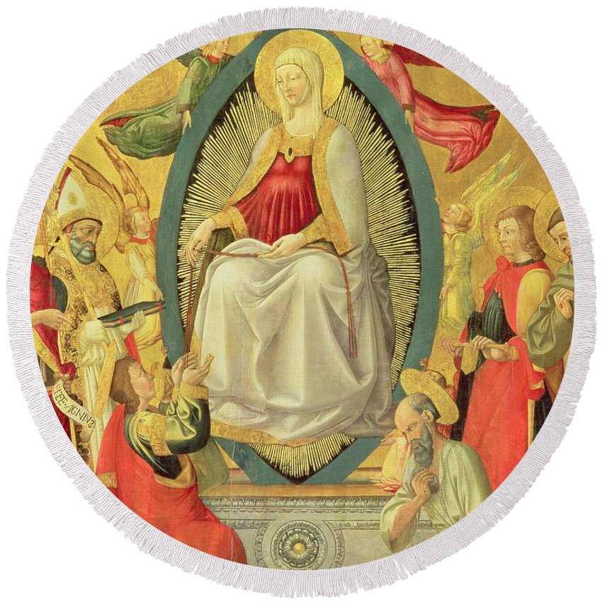 Assumption Round Beach Towel featuring the painting Ascension Of The Virgin, 1465 by Neri di Bicci