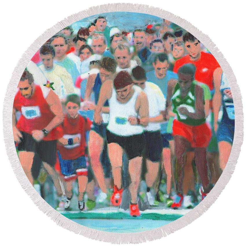 Painting Round Beach Towel featuring the painting Ashland Half Marathon by Cliff Wilson