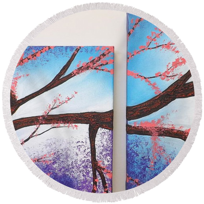 Round Beach Towel featuring the painting Asian Bloom Triptych 1 2 by Darren Robinson
