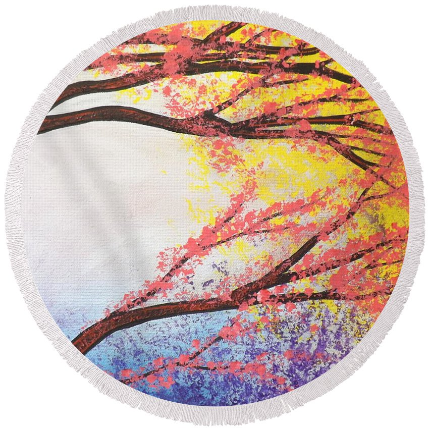 Asian Bloom Triptych Round Beach Towel featuring the painting Asian Bloom Triptych 3 by Darren Robinson