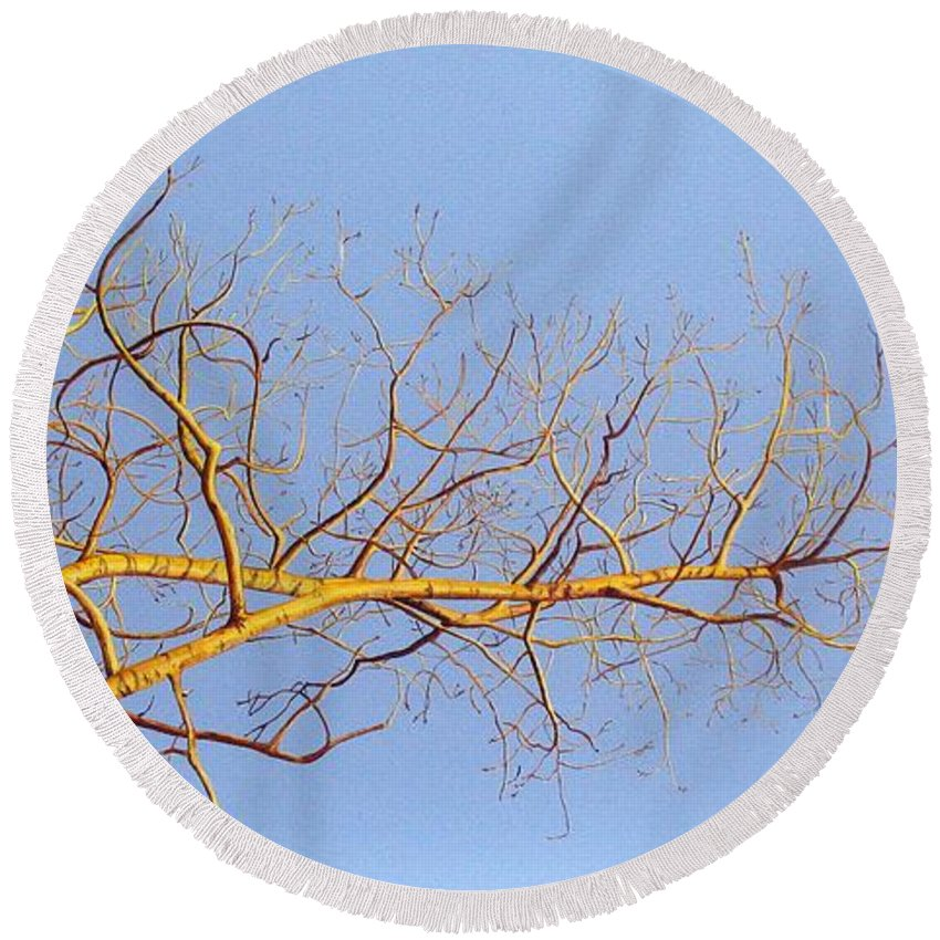 Aspen Painting Round Beach Towel featuring the painting Aspen In The Autumn Sun by Elaine Booth-Kallweit