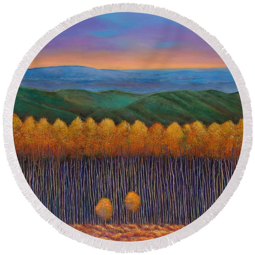 Autumn Aspen Round Beach Towel featuring the painting Aspen Perspective by Johnathan Harris