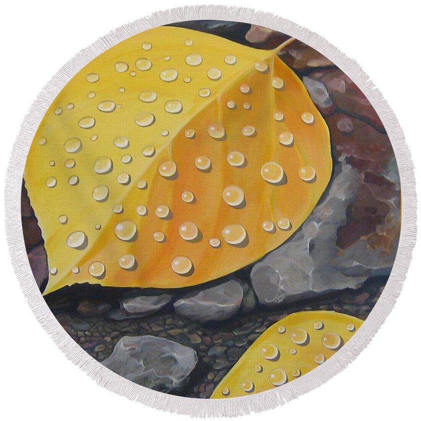 Aspen Round Beach Towel featuring the painting Aspen Rain by Hunter Jay