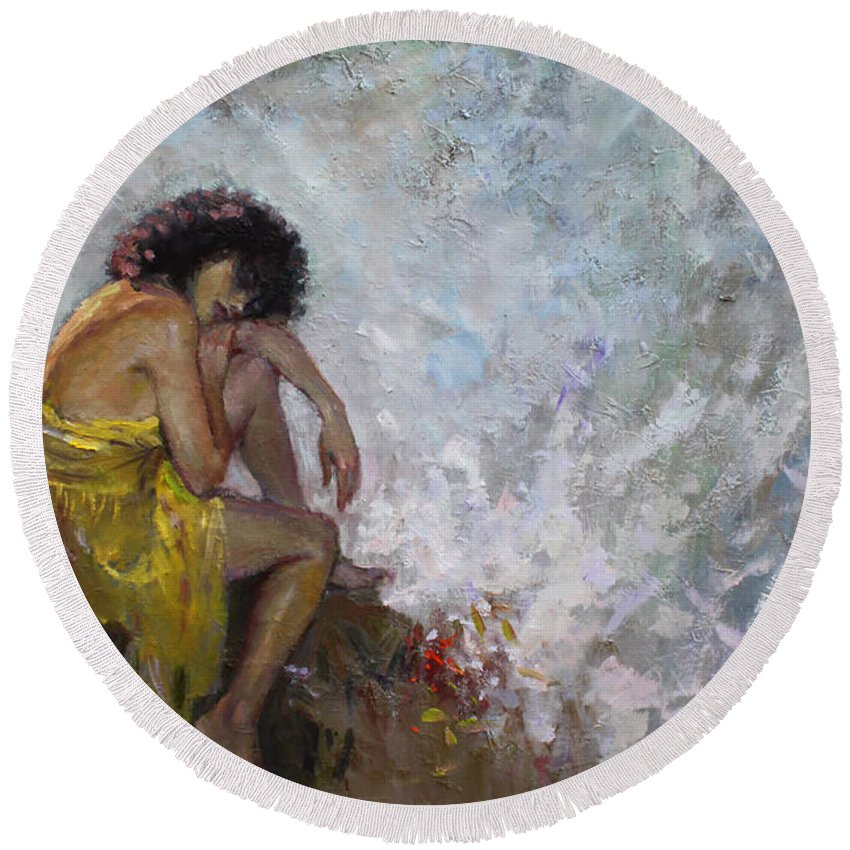 Lady Round Beach Towel featuring the painting Aspettando by Ylli Haruni
