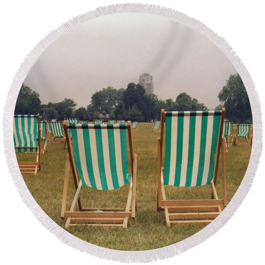 Hyde Park Round Beach Towel featuring the photograph Assemblage by Christine Jepsen