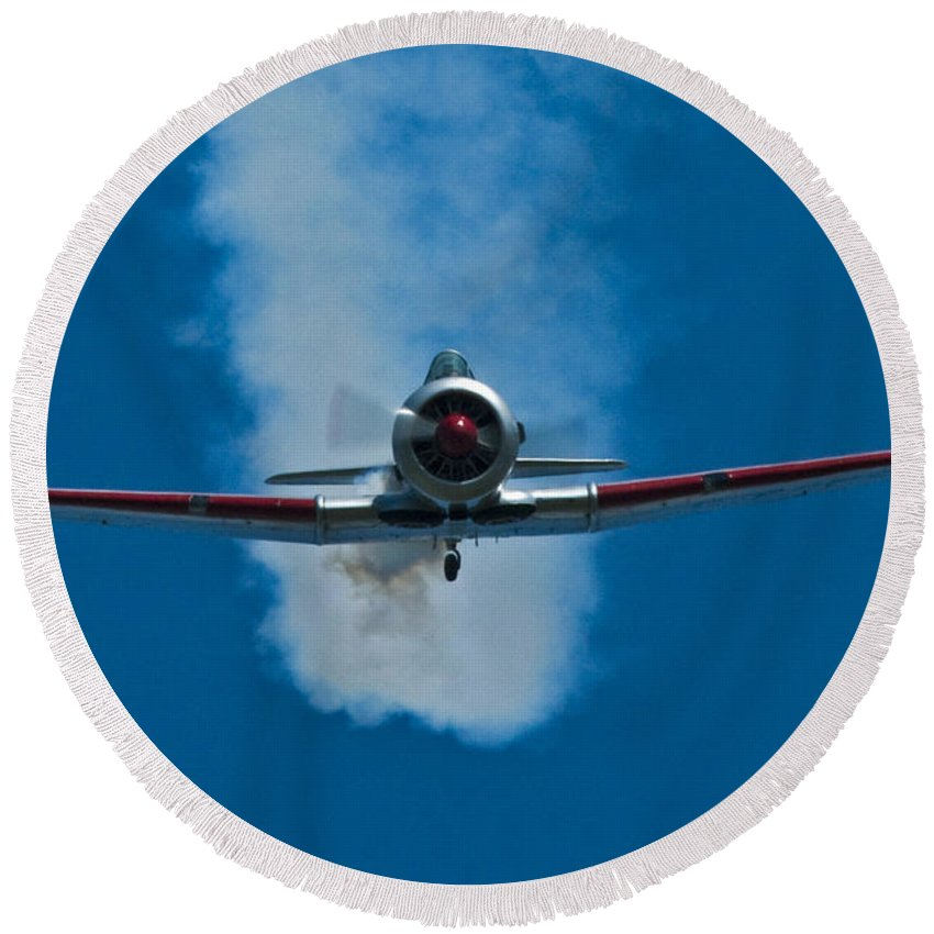 At-6 Texan Round Beach Towel featuring the photograph At-6 Texan by Rob Mclean