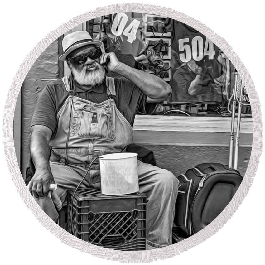 French Quarter Round Beach Towel featuring the photograph At His Office - Grandpa Elliott Small Bw by Steve Harrington