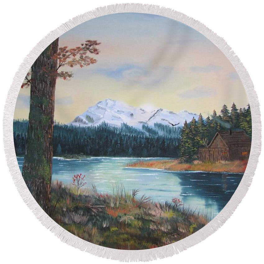 Landscape Round Beach Towel featuring the painting At Home by Duane West