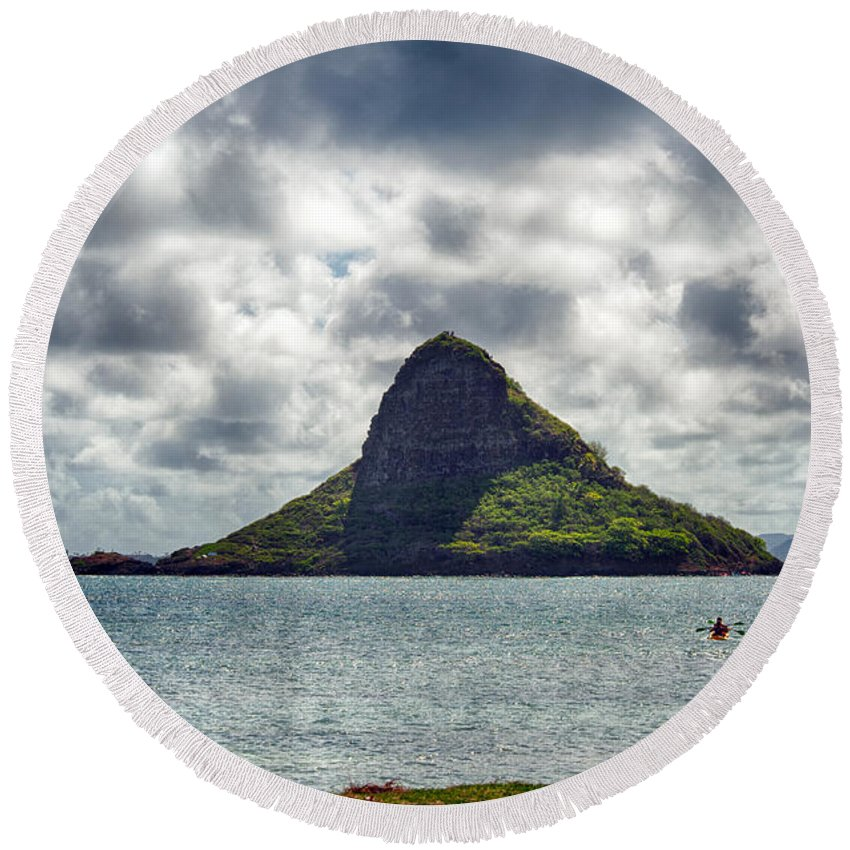 Hawaii Round Beach Towel featuring the photograph At Mokoli'i's Summit by Dan McManus