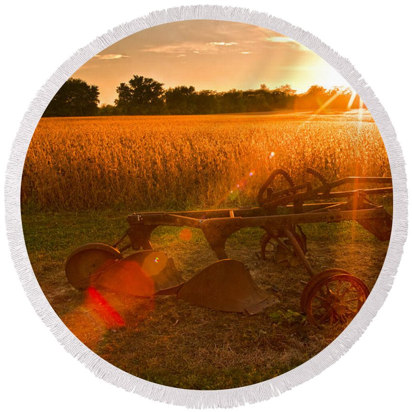 Farming Round Beach Towel featuring the photograph At One Time by Randall Branham